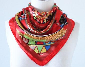 Colorful Seamless Geometric Square Scarves/Soft Silk Head Scarf/Scarf Headband/Red, Yellow and Blue/Boho Style Wide Head Wrap/Bandanas