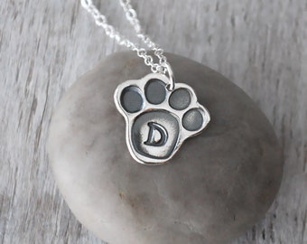 Personalized Paw Print Pet Necklace -  Sterling Silver Pet Necklace -  Dog Necklace - Cat Necklace - Pet Initial Charm