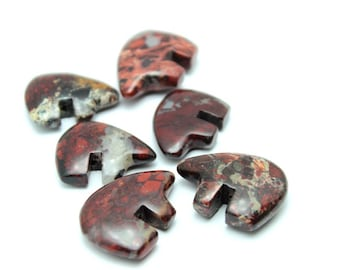 30mm Pair 2Pcs Poppy Jasper Zuni Style Bear Fetish Beads Big Large Southwestern Berry Brick Maroon Red Merlot Wine Totem Animal Protection