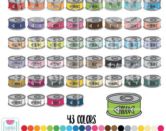 43 Doodle Cat Food Clipart. Personal and comercial use.