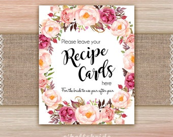 Please Leave Your Recipe Cards Sign Boho Bridal Shower - Printable Bohemian Bridal Shower Signs - Bridal Recipe Card Signs 039