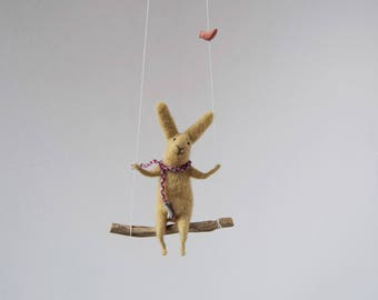 Bunny on swing, Felt Animal, Nursery Decoration Taupe,Gray Needle Felted Bunny, Hanging Bunny, Baby Mobile