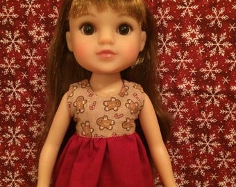 Reversible Christmas Shirt for 14inch Dolls- Gingerbread/Royal Red