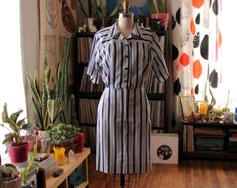 vintage shirtwaist dress . 1980s vertical stripe dress, navy blue and white . womens size small medium . 1980s does 50s