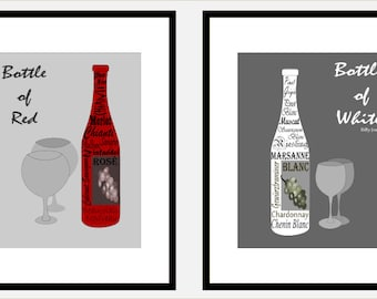 Bottle of  Red, Bottle of White, 2 Prints, Wine Art Prints