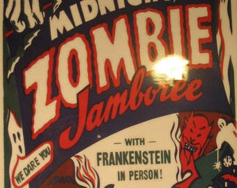 Midnight Zombies Event Poster Spook Side Show Freak Carnival Circus Oddities Ghouls Print / Art / Illustration/ Window Card Reproduction