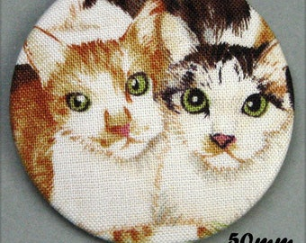 Pair of cats - (50-13) - CAT - fabric covered button