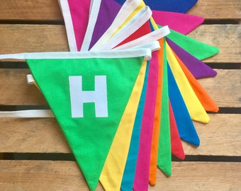 HAPPY BIRTHDAY fabric bunting in rainbow colours