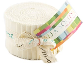 "Moda Bella Solids Ivory Junior Jelly Roll 2.5"" Precut Fabric Quilting Cotton Strips 9900JJR-60"