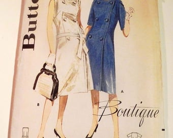 """1960s Double breasted A line sleeveless Scoop neck Boutique vintage sewing pattern Butterick 2762 Size 10 Bust 31"""""""