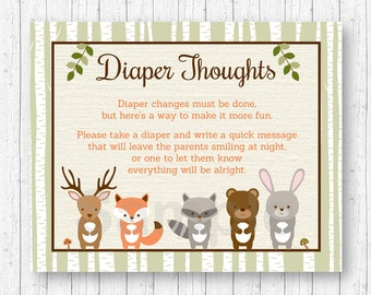 Woodland Forest Animal Diaper Thoughts Game / Late Night Diaper Game / Woodland Baby Shower / Baby Shower Game / INSTANT DOWNLOAD A187