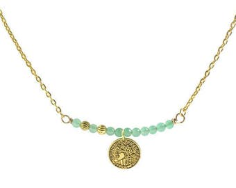Aqua green Aventurine gemstone necklace, VIntage antique gold coin necklace, women's Bar pendant necklace, Mother's day gifts, Gifts for her