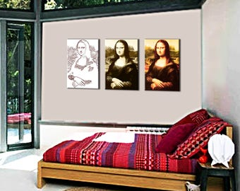 Painting on canvas triptych style evolution 3 x(80x55) Mona Lisa