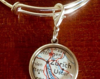 CLEARANCE! Silver tone bangle with map charm / vintage map of Zurich / removeable charm