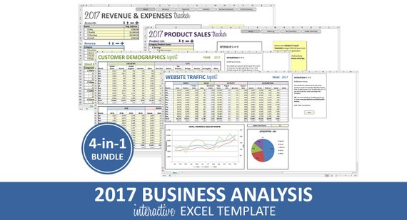 Business analysis bundle 2017 excel templates revenue business analysis bundle 2017 excel templates revenue expenses profit sales customer data traffic reporting instant digital download wajeb Choice Image