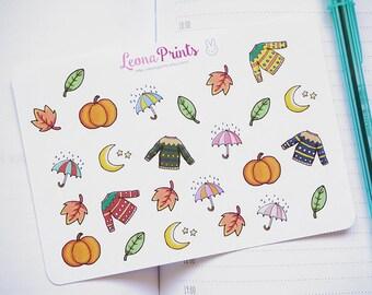 Fall Deco Set Planner Stickers | Stationery for Erin Condren, Filofax, Kikki K and scrapbooking