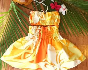 Hawaiian Hula Pa'u Skirt Set Handmade in Hawaii Tangerine Yellow White
