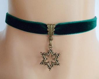 green velvet choker, star choker, star necklace