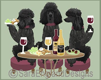 Dogs WINEing - Poodle-Black-Sport