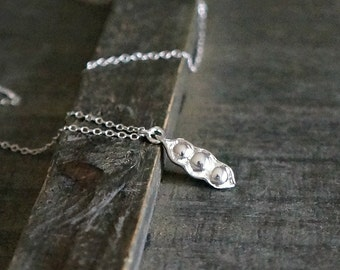 Three Peas in a Pod Necklace / Tiny Sterling Silver Pea Pod Pendant Necklace