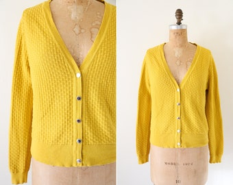 Vintage Ochre Knit Liz Claiborne Cardigan // Cotton Button Down Yellow Sweater