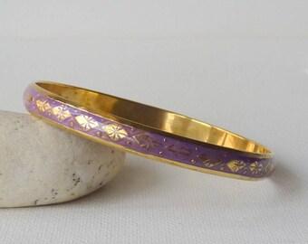 Gold Bangle Bracelet Purple Minimalist  Bracelet Thin  Gold Tone Bangle Stackable Simple Bangle Delicate Gold Bangle Jewelry,Purple Bracelet
