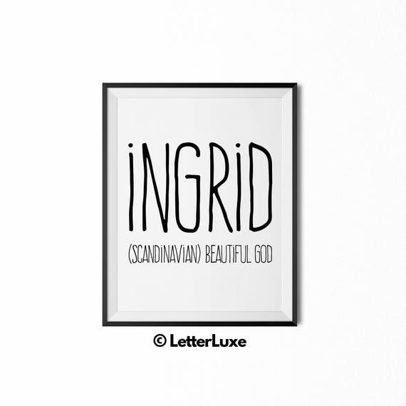 Ingrid name meaning art printable baby shower gift for girl negle Gallery