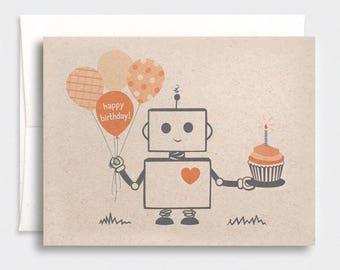 Halloween Birthday Card, Robot - Autumn, For Him, Dad, Boyfriend, Best Friend - Kawaii Birthday Card, Orange, Purple, Red, Blue, or Pink