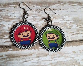 Mario and Luigi Gamer Inspired Earrings
