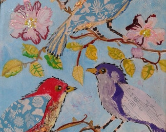 Bird Medley- Mixed Media, Acrylic and Collage Painting on Canvas 55x25cm