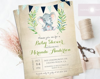 It's a Boy, Baby Shower Invite, Printable Invite, Baby Boy, Blue, Elephant, Cute Baby Shower Invite, Boy Baby Shower, Rustic, jadorepaperie