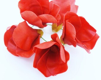 Miniature Polymer Clay Hibiscus Handcrafted Flowers Beads, 12 pcs.