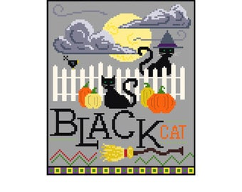 PDF -- Black Cat Halloween Cross Stitch Pattern