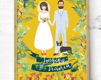 Wedding gift - Unique wedding gift - Maltese - wedding - Couple portrait - Wedding gift ideas - Gift for her - Wedding portrait - wedding