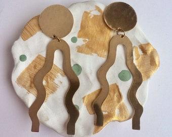 Brass 'Amoeba' earrings