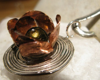 Copper Flower on Silver with Venetian Glass