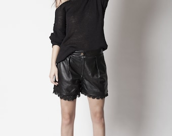 Joly leather&lace shorts