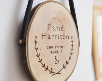 Personalised new baby gift, Christening wood slice