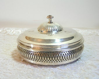 Silver Plated Holder With Glass Divided Dish and Cover
