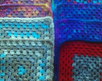 Set of 10,granny,squares,multi-color,craft,supplies,crocheted,afghans,lapghans,bags, 12x12