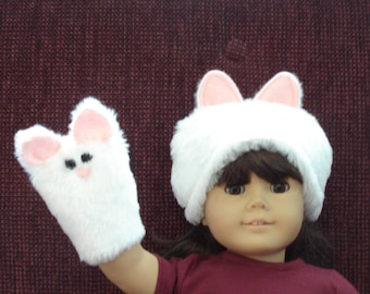 """Fur Kitty Cat Hand Puppet and Hat for  18"""" Doll"""