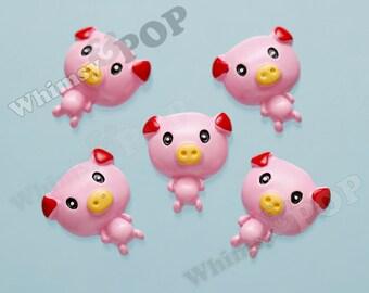 Kawaii Piggy Pink Pig Flatback Cabochons, Pig Cabochon, Farm Animal Cabochon, Pink Pig Cabochon, 25mm (R4-096,C2-14)