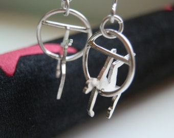 Trapeze artist earrings, Aerealist jewelry, Silver Circus jewelry, circus arts gift