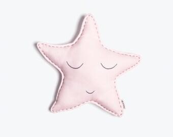 Sleepy Star-Organic Shape Cushion, Baby Cushion, Star Baby Cushion, Baby Shower Gift, Baby Girl Gift, Baby Shower Gift Ideas, Star Baby Gift