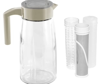 60oz Glass Cold Brew Coffee Maker and Tea Maker With Ice And Fruit Infuser Inserts Included
