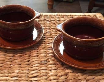 Kiln craft soup bowl with saucer vgc brown
