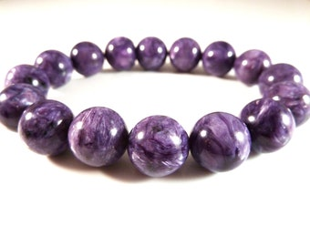 Russian Charoite Stretch Bracelet High Quality 12mm to 13mm Round Gemstone Purple Beads Superior AAA Large Big Chunky Natural Genuine