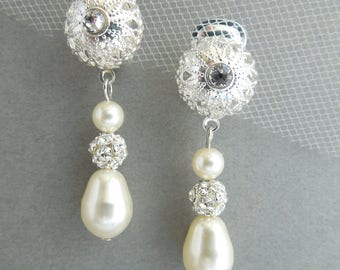 Pearl Earrings, Bridal rhinestone Earrings, Bridal clip on Earrings, Wedding Pearl Earrings,  bridal jewelry, dangle earrings, pearl, PAM