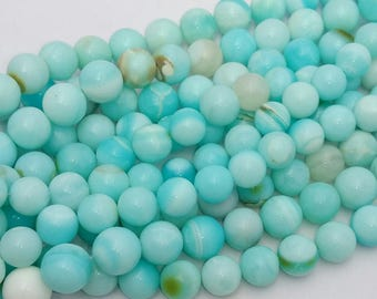 "Natural PERUVIAN OPAL smooth round beads,Balls beads,sky blue color smooth balls beads, good quality, 11 mm -- 13 mm approx,15""strand[E0575]"