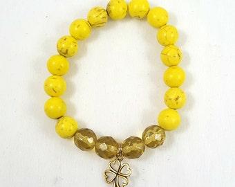 Yellow Magnesite Beaded Bracelet-Stackable/Stack Bracelets/Trendy/Charm Bracelet/Jewelry/Stretch Bracelet/Yellow Magnesite Beads